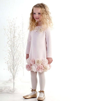 Biscotti Little Girls Pink Pearl Lace Flower Adorned Easter Dress 2T-6X