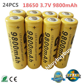 24 pcs Universal 18650 3.7V 9800 mAh Rechargeable Lithium Batteries Tip Main Batery Cell For Flashlight Torch Camera