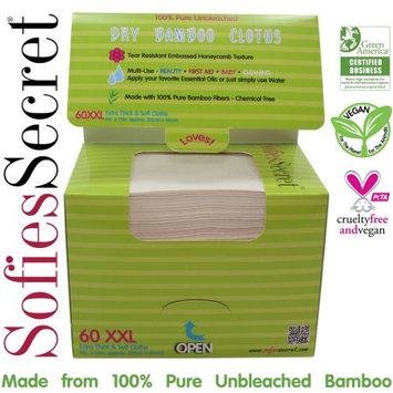 Moist Towel Services SofiesSecret Unbleached Bamboo DRY Wipes, Extra Thick, XXL, Refill 60 Count? Multi-Use: Beauty, First Aid, Baby, Cleaning, Ultra Soft 8in. X 12in.