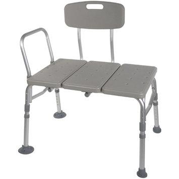 McKesson Plastic Transfer Bench with Adjustable Backrest, TOOL FREE Transfer Bench with Back Non-slip Seat, White