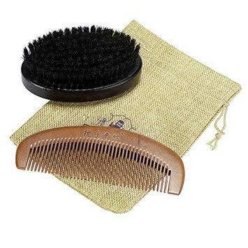 Neverland Beauty Beard Brush and Comb Set for Men, Peach Wooden Comb and Boar Bristles Beard with Travel Bag for Hair and Beard Grooming