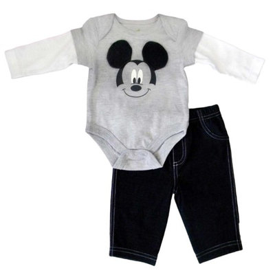 Fisher-price Disney Infant Boy 2 Piece Mickey Mouse Gray Long Sleeved Bodysuit Pants Set NB