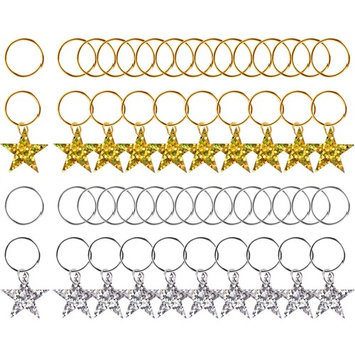 Pangda 50 Pieces Hair Braid Rings Shiny Star Hair Clips Rings Hair Charms Pendant Loops, Gold and Silver