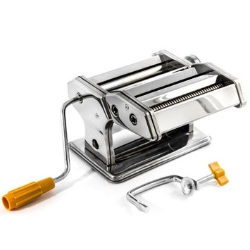 Biltek Pasta Maker Machine - Stainless Steel Hand Crank Cutter & Roller for Fresh Pasta