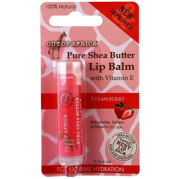 Out of Africa, Lip Balm, Pure Shea Butter, Strawberry, 0.15 oz (4 g) [Scent : Strawberry]