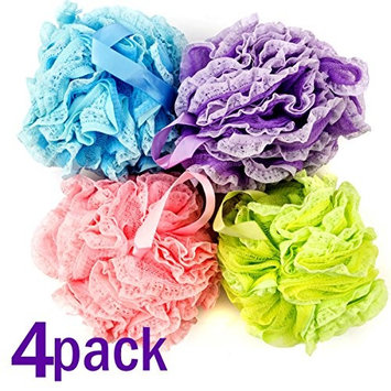 Bath Blossom Shower Loofah Loufa Sponge Pouf Puff Large Size (4 Pack) Luffa - Great for Body Wash, Back and Body Scrubber - Exfoliating Suitable for Men and Women