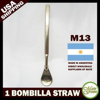 Mategreen Metal Silver Yerba Mate Tea Bombilla Gourd Drinking Straw Filtered Argentina M13