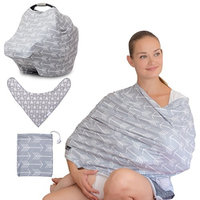 3 PCS - Premium Baby Nursing Breastfeeding Cover + Baby Bandana Drool Bip + Pouch (Gift Set), Multi-Use - Cover for Car Seat, Shopping Cart, High Chair, Stroller, Swing, Scarf - Modern Arrow Pattern