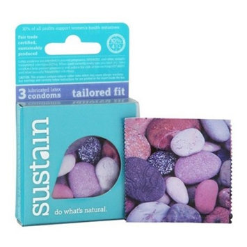 Sustain Tailored Fit Lubricated Latex Condoms - 3 ct