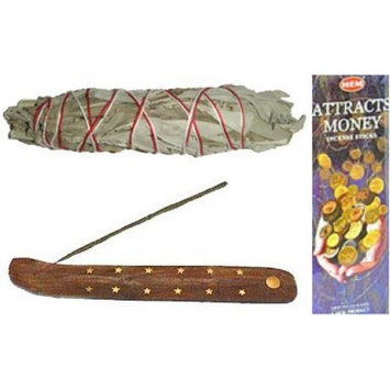Attract Money Incense Plus Canoe Incense Burner and White Sage Set