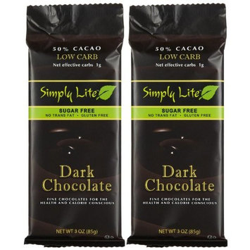 Simply Lite Low Carb Dark Chocolate Sugar-Free 50% Cacao 3-Ounce Ba Roasted (Pack of 10)