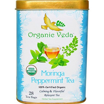 Organic Moringa Peppermint Tea (28 Potent Tea Bags). USDA Certified Organic. Rich in Antioxidants and Daily Needed Essential Nutrients. No Artificial Flavors or Preservatives. All Natural!
