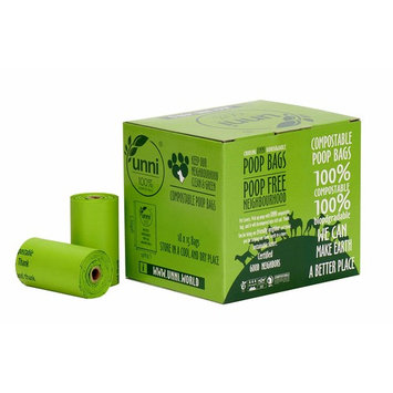 UNNI 100% Compostable Pet Poop Bags, Dog Waste Bags, 270-Count, 18 Refill Rolls, Size:9