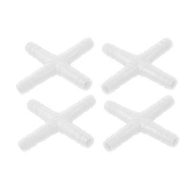 4 Pcs White 4 Way Hose Barb Air Line Valve Connectors Inline Tubing for Aquarium