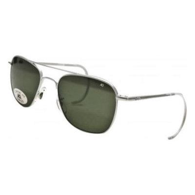 AO Original Pilot Sunglasses, Wire Spatula, Matte Chrome Frame, Green Glass Lens
