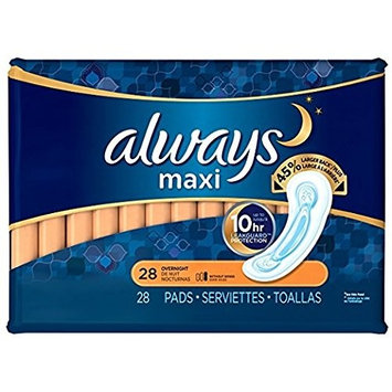 Always Maxi Unscented Pads without Wings, Overnight, 28 Count (Pack of 3) by Always