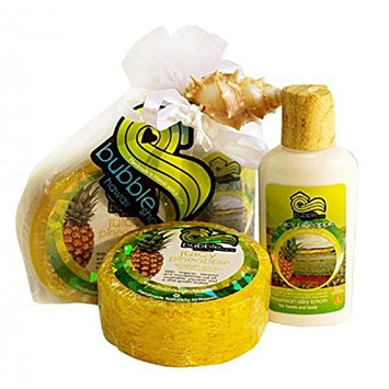 Hawaiian Bubble Shack Loofah Soap & Body Lotion Duo Gift Set Juicy Pineapple
