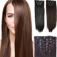 6PCS/SET 140G Full Head Clip In Hair Extensions Hairpiece Straight Heat-Resisting Long Straight Synthetic Hair Extensions Hairpieces for Women 24