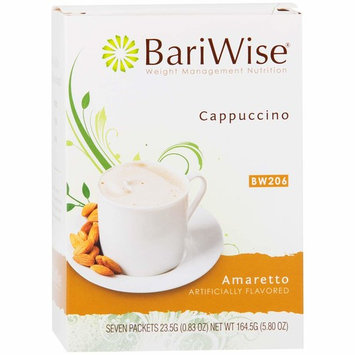 BariWise High Protein Hot Drink/Instant Low-Carb Cappuccino Mix (15g Protein) - Amaretto (7 Servings/Box) - Low Calorie, Low Carb, Low Fat, Gluten Free, Aspartame Free