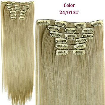 24 Inches Long Straight Full Head Clip In Hair Extensions Synthetic Heat-Friendly Fiber HairPiece 6pcs 16 Clips