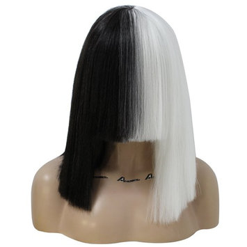 Anogol Hair Cap+Half Black White Fluffy Bob Yaki Straight Hair Wigs with Bangs Synthetic Heat Resistant Women Fashion Hairstyles Custom Cosplay Party Wigs (Only Wig)