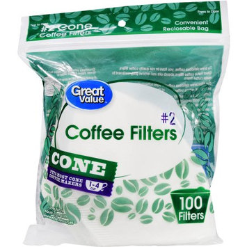 Wal-mart Stores, Inc. Great Value #2 Cone Coffee Filters, 1-4 Cup, 100 Count