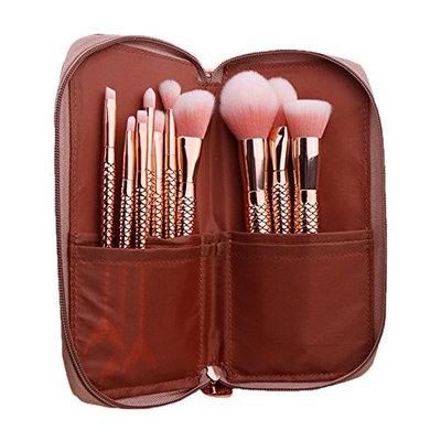 Makeup Brushes set with Bag - 10PCS Rose Gold Mermaid Makeup Brush Eyeshadow Eyebrow Foundation Blush Lip Concealer Powder Cosmetic Makeup Brush Kit