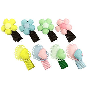 Wrapables® Baby Toddler Hearts and Flowers Ribbon Hair Clips (Set of 8)
