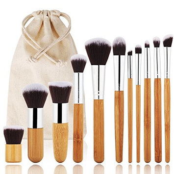 Makeup Brushes, VITI Professional Makeup Brush Kit 11 Pieces Bamboo Handle Premium Synthetic Kabuki Foundation Face Eyeshadow Cosmetics Blending Brush Tool Set With Cloth Bag