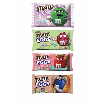 M&Ms Easter Chocolate Candy Variety Pack of 4 Bags - White Chocolate Marshmallow, Milk Chocolate Eggs, Peanut Butter Eggs, Almond Eggs