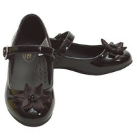 Angel Black Patent Flower Accent Dress Shoes Toddler 5-Little Girls 4