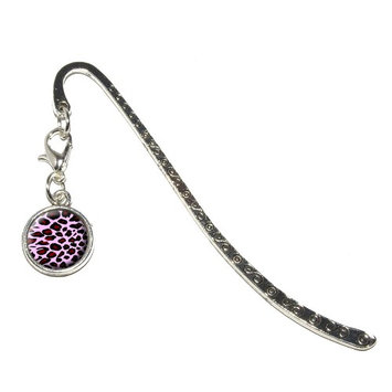 Graphics And More Leopard Animal Print Pink Metal Bookmark with Charm