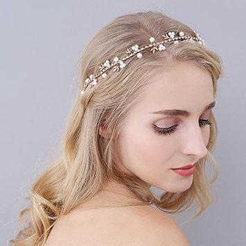 Drhob Bendable Pearl Wedding Headband Bride Hair Accessories Headpiece Hair Vine Leaves Headdress Head Ornament for Brides, Girlfriend, Wife, Mom, Girl, Women