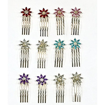 12 Pieces With 5 Different Color Rhinestone With Silver Color Metal Mini Comb C-3