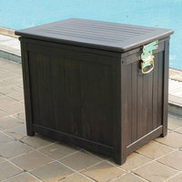 15 Gallon Wooden Patio Icebox, Dark Brown