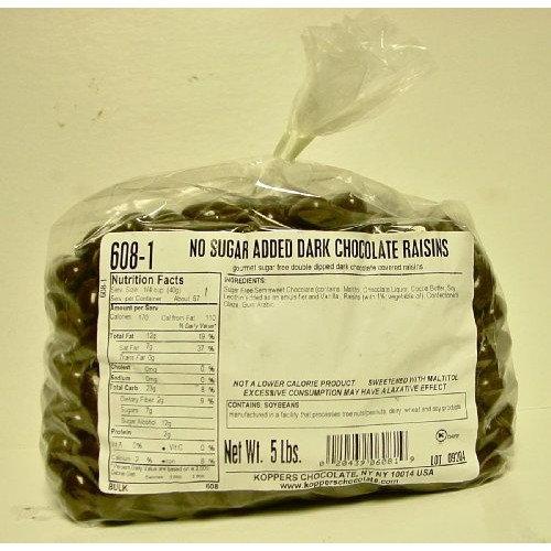 Koppers No Sugar Added Dark Chocolate Raisins, 5-Pound Bag