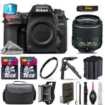 Tristatecamera Nikon D7500 DSLR Camera + 18-55mm VR + Extra Battery + UV + 32GB + 1yr Warranty
