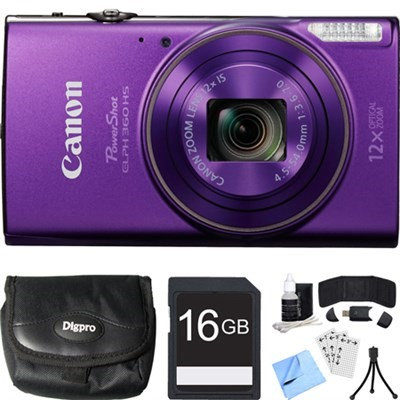 Canon PowerShot ELPH 360 HS Purple Digital Camera w/ 12x Optical Zoom 16GB Card Bundle