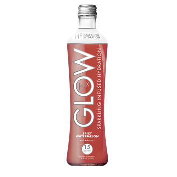 GLOW Beverages Sparkling Infused Hydration - 8 Pack 12oz Glass Bottle - Spicy Watermelon