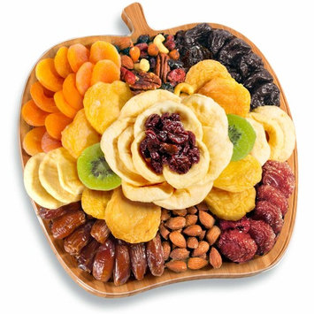 Golden State Fruit Dried Fruit and Nuts In Bamboo Apple Shape Serving Tray