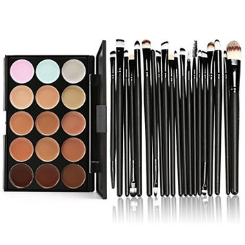 SMTSMT 15 Colors Contour Face Cream Makeup Concealer Palette Professional + 20 Brush-Black