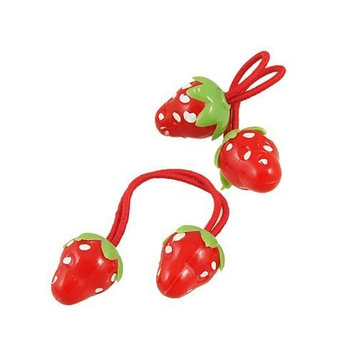 uxcell 2 Pcs Red Strawberry Decorate Elastic Band Hair Tie for Girl