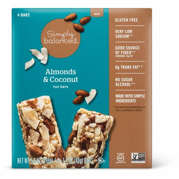 Simply Balanced Almonds & Coconut Nut Bars 1.4oz x 4 bars, pack of 1 (total 5.6oz)