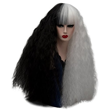 Alacos Fashion 75CM Long Fluffy Curly Synthetic Gothic Lolita Harajuku Cosplay Brow-Skimming Bangs Wigs for Women +Free Wig Cap