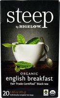 Bigelow Tea Steep Organic English Breakfast Tea - 20 Tea Bags pack of 6