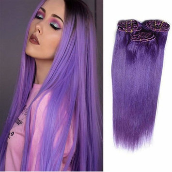 18 Inch Human Hair Extensions Clip in Human Hair Extensions Straight Hair 60grams Purple Color