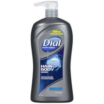 Dial for Men Hair + Body Wash with Advanced Hydration Moisturizer & Clean Rinse Technology, Hydro Fresh, 32 Ounce - Pack of 1