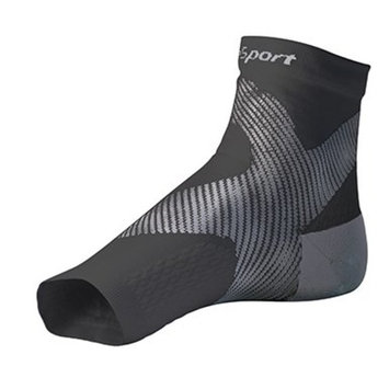 SureSport® Ultra 8 Plantar Fasciitis Foot / Ankle Compression Sleeve (Black & Grey) L/XL Toeless Sock for Heel Arch & Ankle Support Men & Women - Accelerated Recovery, Reduced Muscle Fatigue - Breathable & Comfortable, Relief From Swelling, Improves Blood Circulation