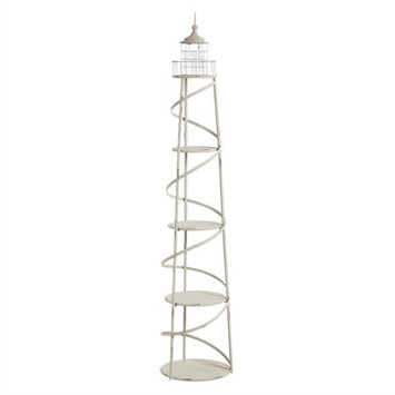 Evergreen 5 Tier Metal Lighthouse Display Unit with Glass Cylinder for Candle