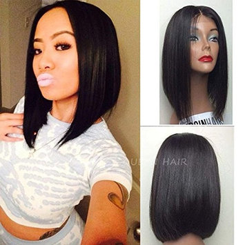 Maycaur Short Bob Wigs Black Color Straight Hair Synthetic Lace Front Wigs for Women 12Inch
